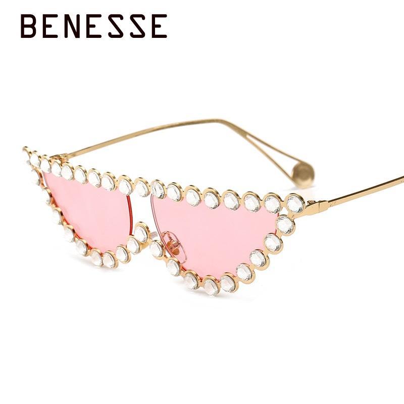 Small Cat Eye Diamond Sunglasses Women 2018 Crystal trending designer  colorful Mirror Metal Frame Sun glasses UV400