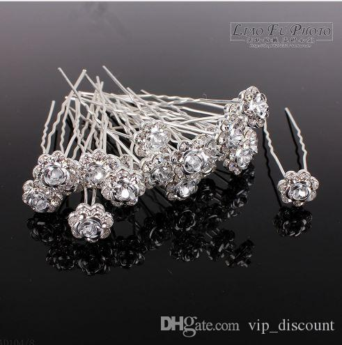 60PCS Wedding Accessories Bridal White Rose Hairpins Flower Crystal Rhinestone Hair Pins Clips Bridesmaid Women Hair Jewelry