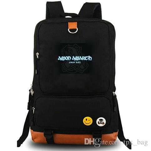 Amon Amarth backpack Johan Hegg daypack Heavy metal rock band music schoolbag Laptop rucksack Canvas school bag Outdoor day pack