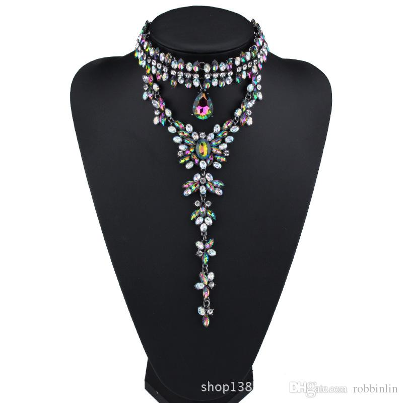 Gorgeous Choker Pendant Necklace for Women with Pretty Crystal Beads Costume Jewelry for Wedding Dress 3 Colors 1 Pc