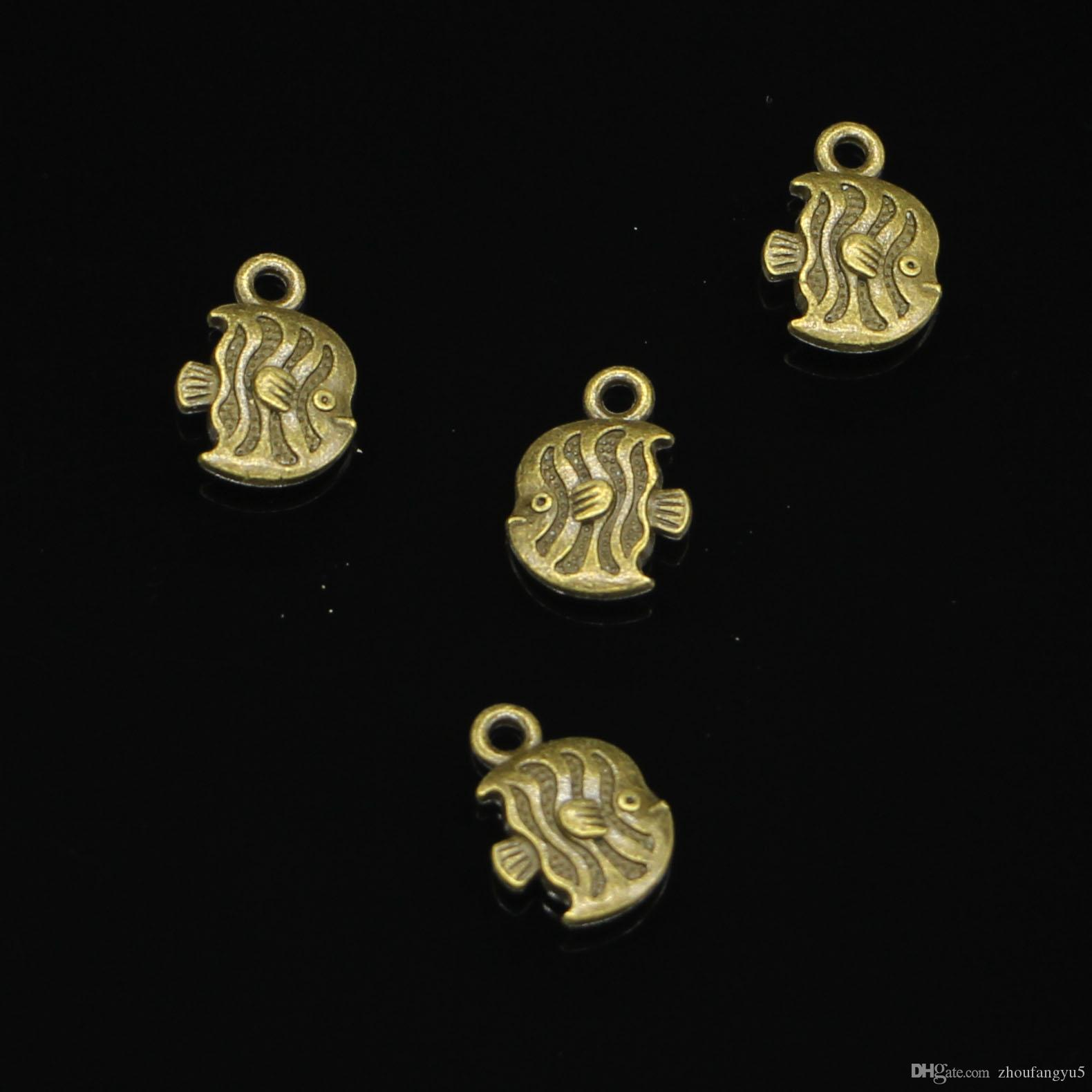 100pcs Zinc Alloy Charms Antique Bronze Plated tropical fish Charms for Jewelry Making DIY Handmade Pendants 15*11mm