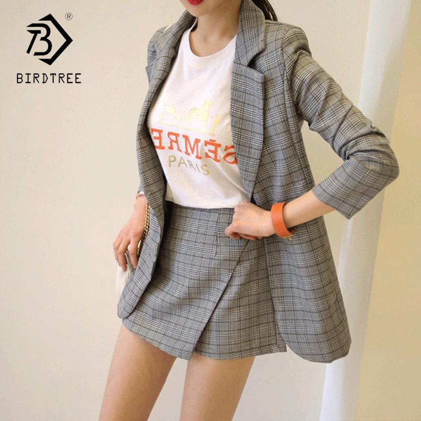 Yaz Güz Ofis Lady V Yaka Gri Ekose Takım Tam Kollu Ceket Üst + Yüksek Bel Mini Etek / Kısa Kadın 2 Parça Set Sıcak S87434X