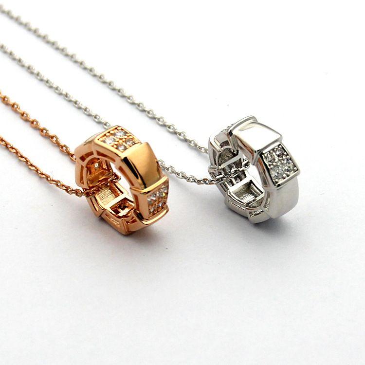 Высокое качество мода Марка нержавеющей стали ожерелье 18K розовое серебро змея кости ожерелье подходит для пары подарок приходят с мешок для пыли и коробка