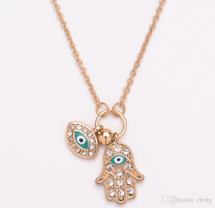 New arrival women Turkey's blue eyes hand of Fatima pendants necklaces hip hop jewelry pendant Free shipping 478