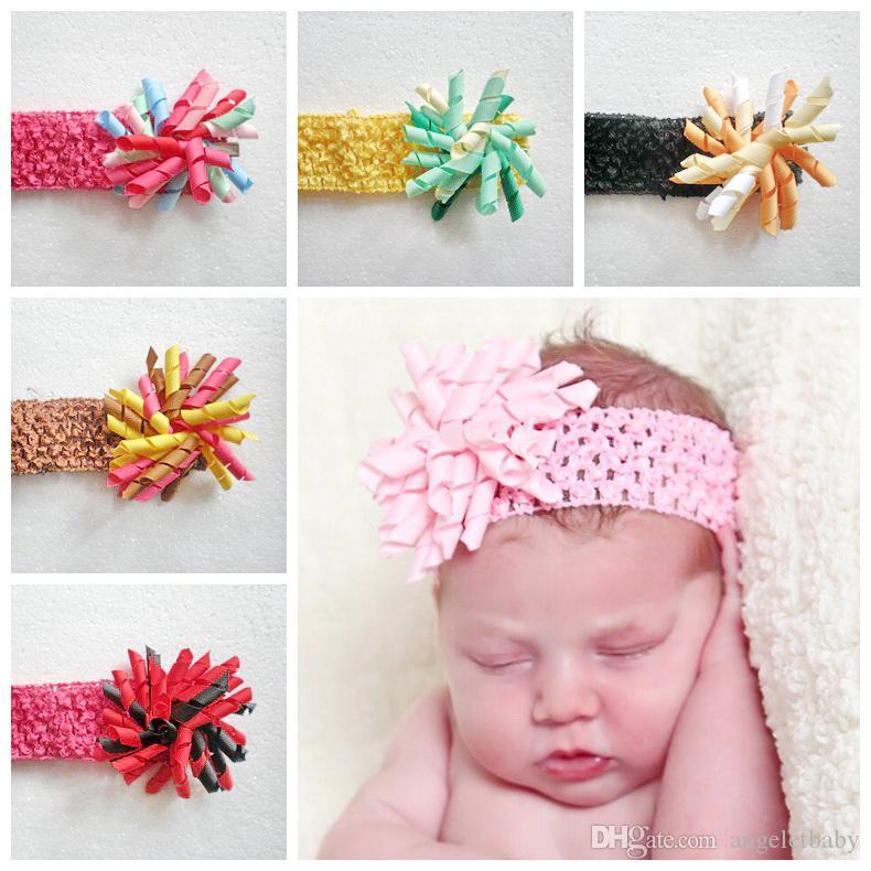 korker yay çiçekler bebek Saçın çember kıvırcık şerit şapkaya Corker saç bandı Kafa sarar saç grubun 20pcs PD011 ile Kız waffle Crochet saç bantlarında