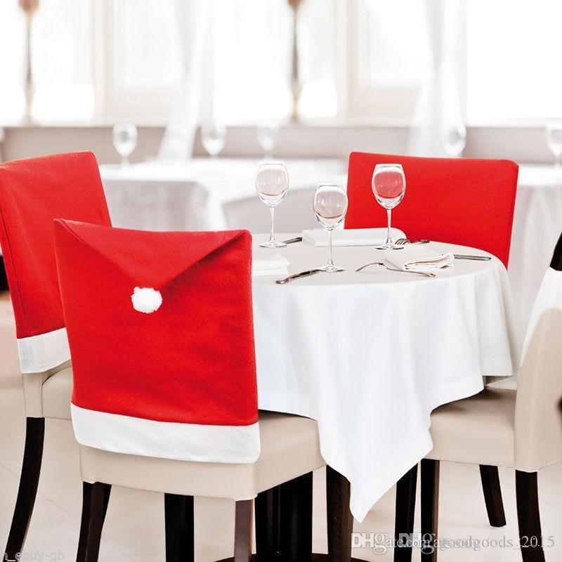 Año nuevo Decoraciones de la cocina de Navidad Papá Noel Sombrero Silla Cubre Fiesta en casa Mesa de comedor Decoración Regalos de Navidad c226