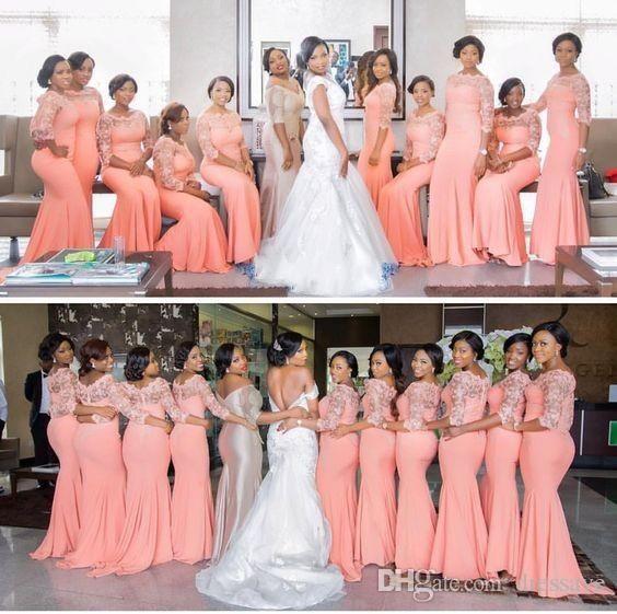 Elegante Lichtkoralle lange Brautjungfern Kleid mit Ärmeln plus Größe Spitze Meerjungfrau-Partykleid Afrikanische Bridemaid-Kleider