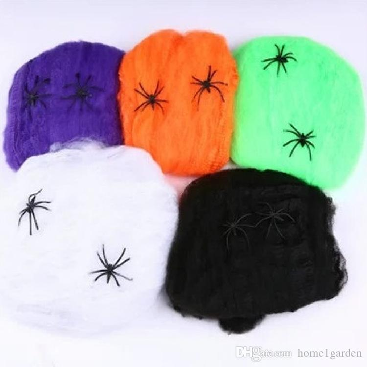 Halloween Scary Party Scène Accessoires Blanc Stretchy Toile D'araignée Toile D'araignée Horreur Halloween Décoration Pour Bar Maison Hantée