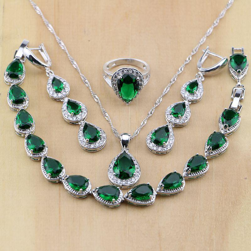 La joyería de plata esterlina 925 ashion del descenso del agua verde esmeralda Creado blanca CZ Mujeres sistemas de la joyería pendientes / colgante / collar / Anillos / sujetador ...