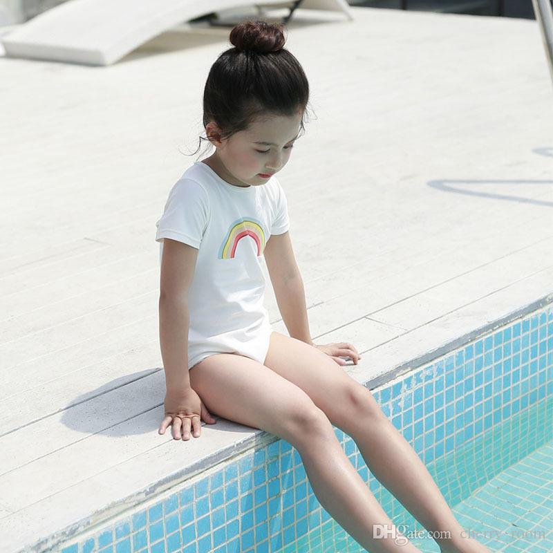 3a04494da ... New rainbow swimsuit girls swimwear kids girl one-piece with swim caps  set bathing suits ...