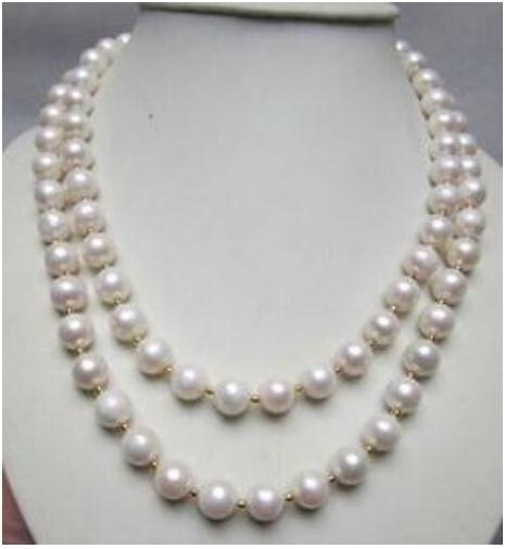 Doppelstränge Perlenketten 9-10mm Südsee runde weiße Perlenkette 18 Zoll 19 Zoll 14 k Gold Schließt