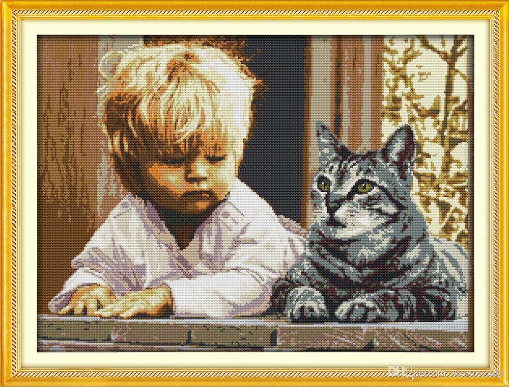 Chłopiec i Kot Kid Animal Diy Decor obrazy, Handmade Cross Stitch Hafty Robótki Zestawy Liczono Drukuj na płótnie DMC 14CT / 11CT