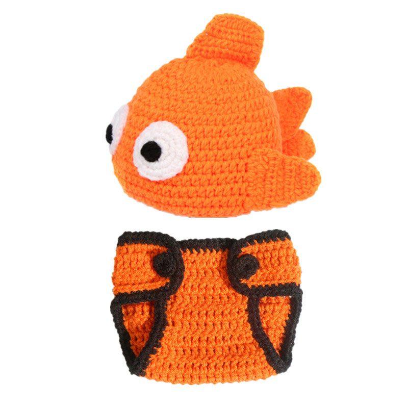 رائعتين البرتقال الأسماك زي الطفل ، اليدوية الكروشيه بيبي بوي فتاة قبعة حفاضات الأسماك غطاء مجموعة ، اكسسوارات الحيوان ، الرضع الوليد صور الدعامة