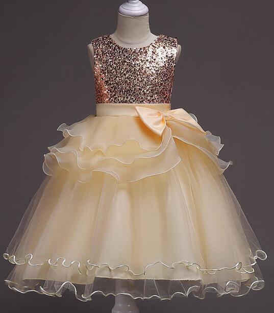 Es ist rongniuniu Neue Bling Pailletten Blume Mädchen Kleider Oansatz Prinzessin Ball Grown Falte Bodenlangen Mädchen Kleid