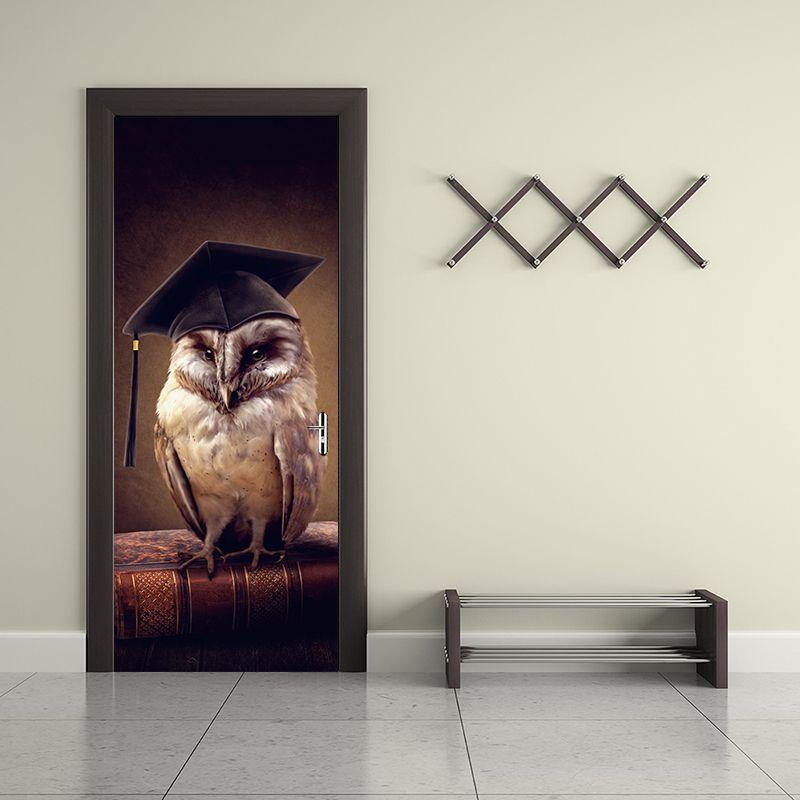 Yeni Karikatür Sevimli Baykuş Çocuk Odaları Ev Dekor Kapı Sticker Sanat Vinil Çıkartmaları Duvar Kağıdı Kuşlar Hayvan DIY Duvar resmi Kendinden Yapışkanlı Oturma odası