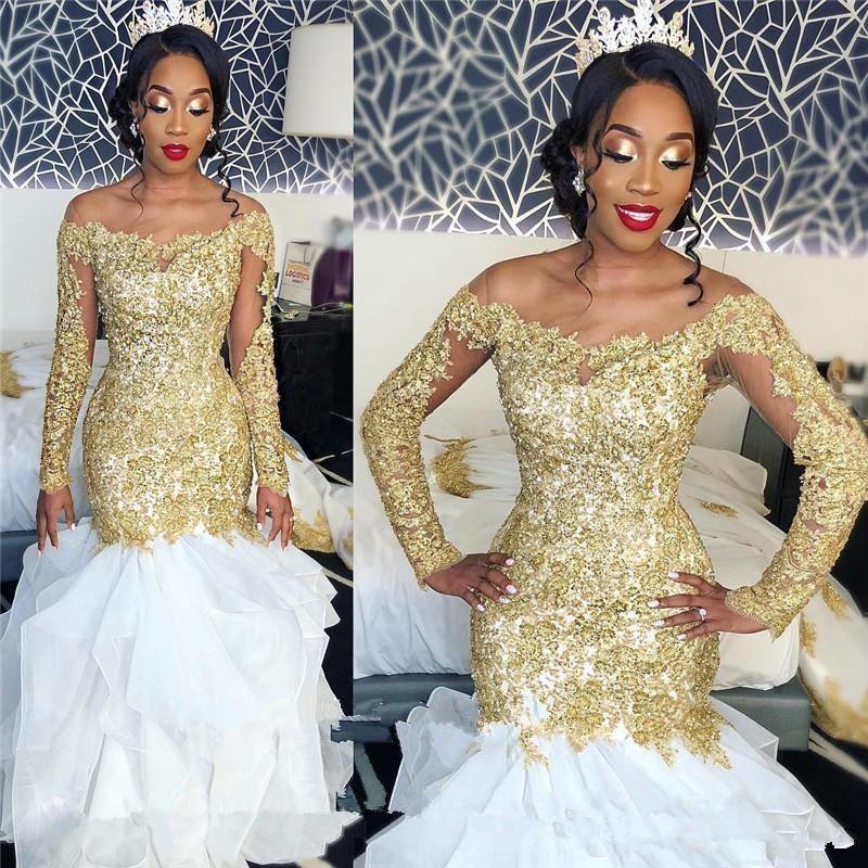 Vestidos de novia de manga larga en blanco y oro 2019 Nuevo diseño Custom Tulle Sheer Gold Appliques Encaje Organza volantes Sirena Vestidos de novia 66