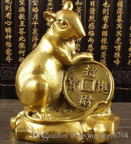 ++++A copper rat mouse Home Furnishing twelve zodiac feng shui ornaments metal crafts the size of the rat