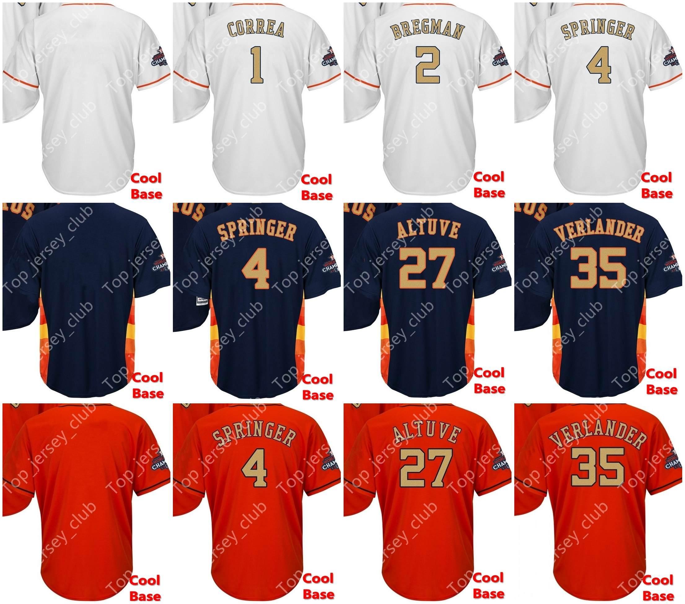 hot sale online 9f501 34461 2019 Cool Base Gold Houston Baseball Jersey Men Women Youth Custom Signed  Astros 1 Correa 2 Bregman 4 Springer 27 Altuve 35 Justin Verlander From ...