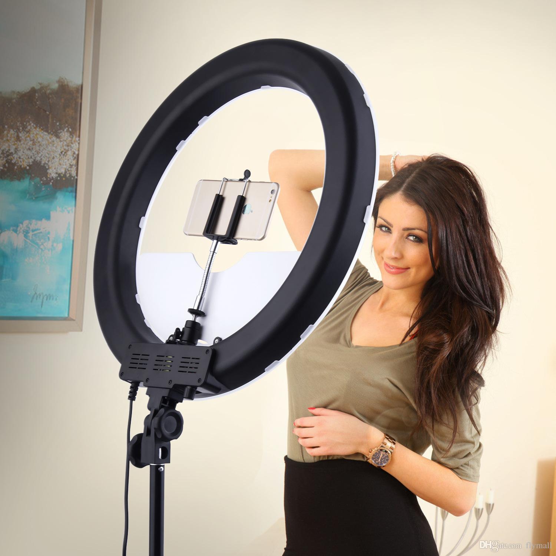 Câmera de Vídeo Da Foto do Telefone Do Estúdio 55 W 240 PCS Anel de Luz LED 5500 K Fotografia Dimmable Anel de Maquiagem Lâmpada Com 200 CM Tripé