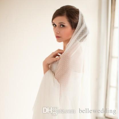 Wysokiej jakości welony ślubne z cięte krawędzią Kaplica Długość Jedna Warstwa Tiul z kropkami Tanie Hotselling Wedding Weddal Veils # V204