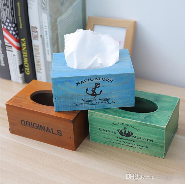 Retro Style Tissue Box Cover Wooden Black Napkin Dispenser Tissue Holder