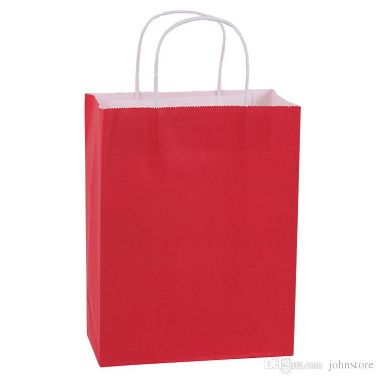 medium size red clothing store retail paper handbag with your logo printed economical kraft paper boutique shopping bags