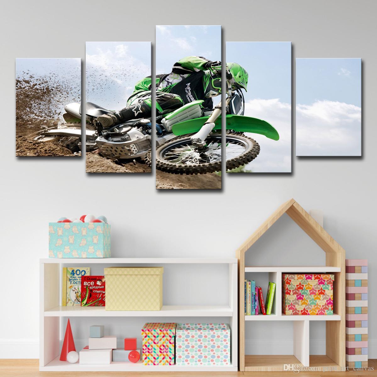 Холст HD печатных настенная живопись Современный Для гостиной плакат 5 шт. мотокросс предел масло картинки Home Decor