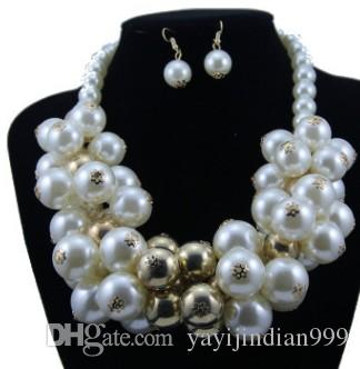 wonderful natural pearl diamond lady's necklace earings set (15) gdgfd