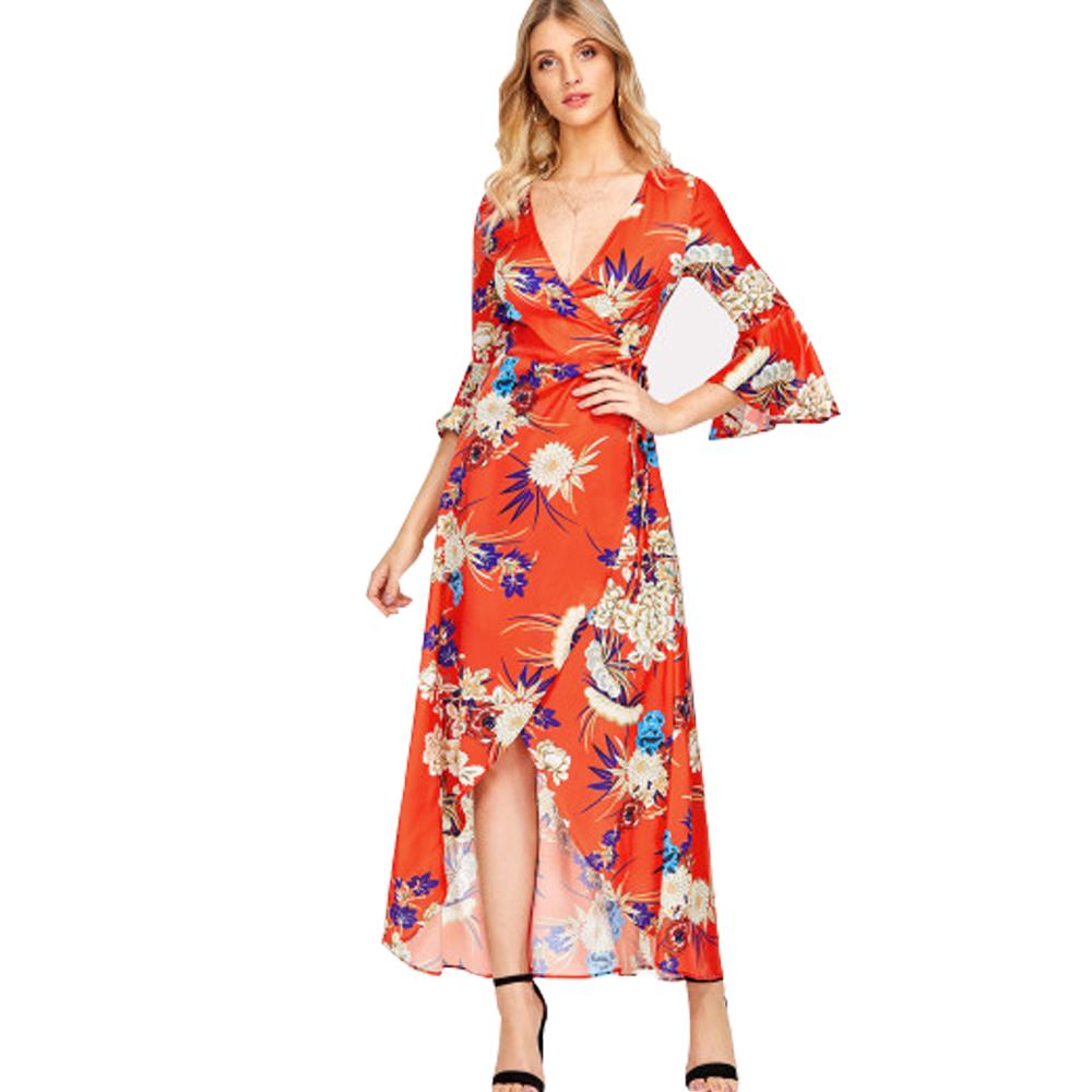 Floral Maxi Dress With Deep V Neck Flutter Sleeve Wrap Dress Plus Size  Asymmetric Hem Summer Dresses For Women Orange Color Halter Dresses Dress  ...
