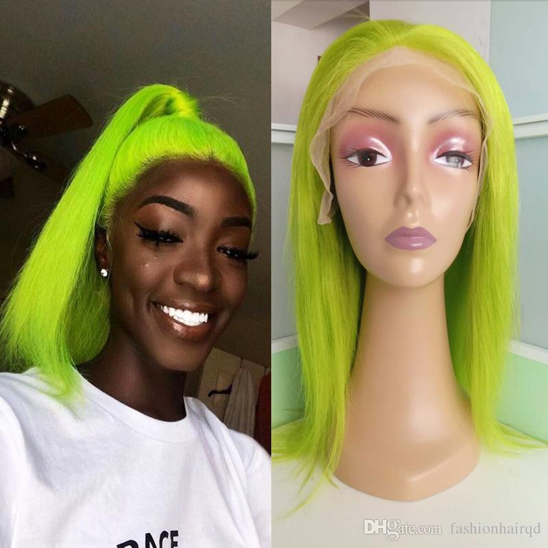 Green Pre Plucked Full Lace Human Hair Wigs
