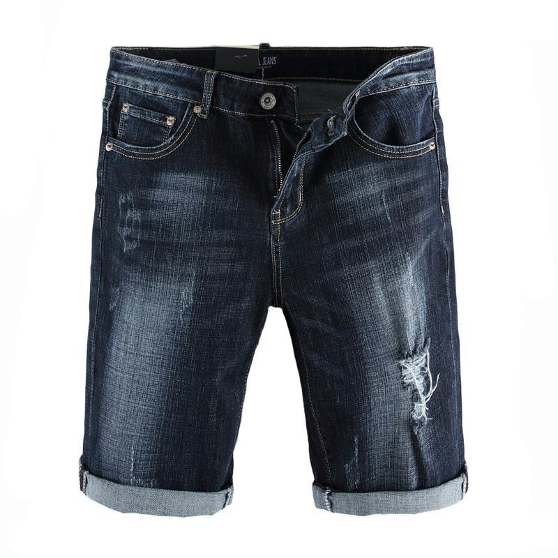 Marka Tasarımcısı Erkekler Kot Şort Yaz Ripped Kısa Kot Erkekler Elastik Slim Fit Denim Şort Yüksek Kaliteli Kısa Boy Pantolon