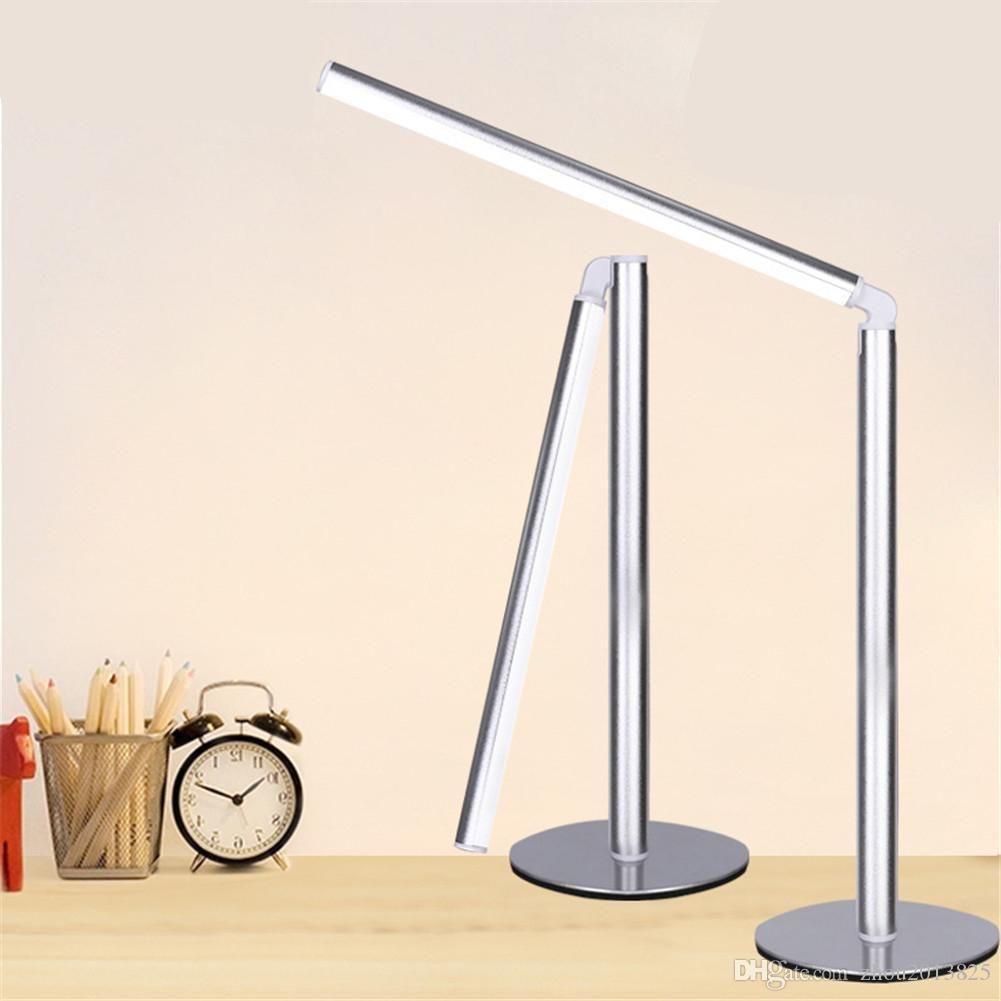 LED Desk Lamp with USB Charging Port,4W Eye- care Table Lamp, Metal, Glare-Free, Button Control -- silver