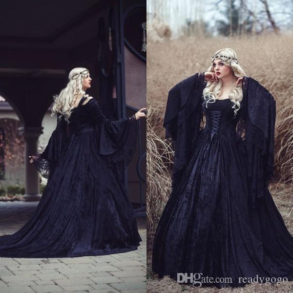 Vintage Gothic Wedding Dresses 2019 High Quality Black Full Lace Long Sleeved Medieval corset Bridal Gowns Lace-up Back with Train