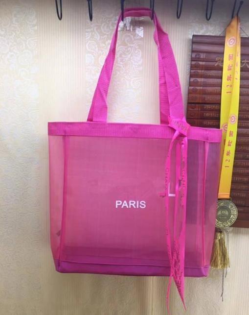 Bolso de malla de compras clásico con cinta Classic Pattern Bolsa de viaje Playa Mujeres Lavado Bolsa Cosmética Maquillaje Malla de malla