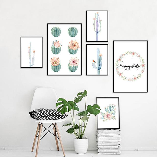 Home Decor Cactus Flower Wall Art Unframed Canvas Painting Watercolor Plant Posters And Prints Wall Pictures For Living Room