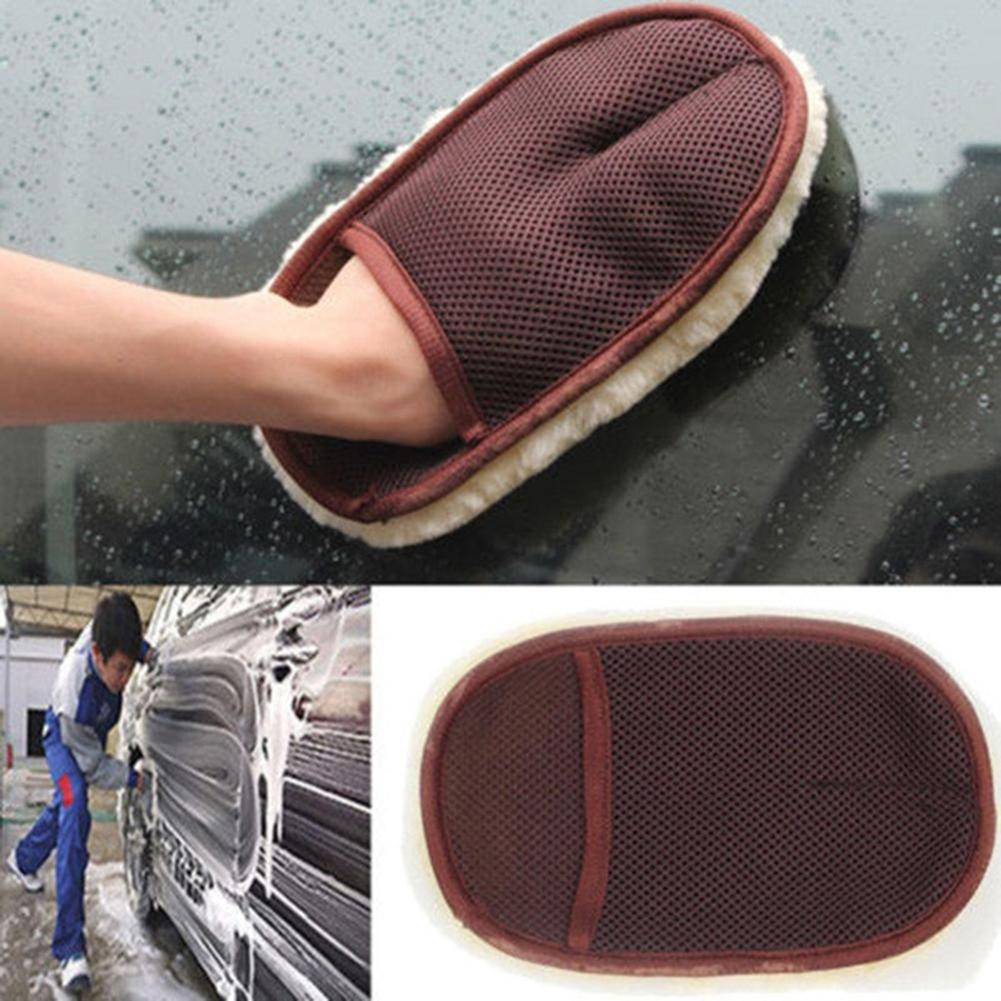 Thick Car Care Cleaning Brushes Polishing Mitt Brush waxing faux Wool Car Wash Glove Car Cleaning cloth Motorcycle Washer c712
