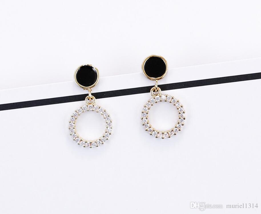 S925 aiguille en argent sterling zircon cercle boucles d'oreilles tempérament féminin personnalité coréenne simple sauvage boucles d'oreilles courtes populaires boucles d'oreilles