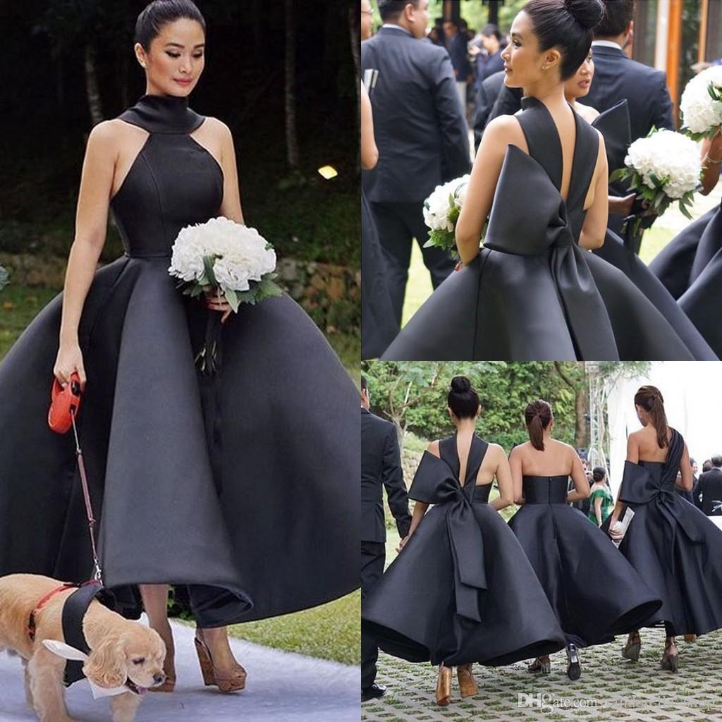 2020 Country Black Bridesmaid Dresses Ankle Length Sleeveless Three Kinds Ball Gown Garden Wedding Guest Dresses Customized Cheap