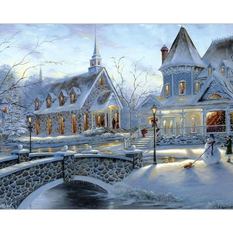 Frameless Picture Snow Landscape Diy Painting By Numbers Acrylic Kits Hand Painted Oil Painting Moder Wall Art Home Decors