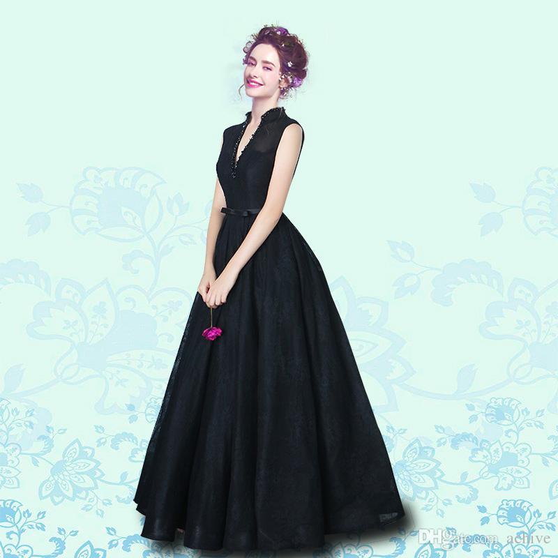 Compre 2018 Romance Cuello Alto Negro Vestidos De Noche Con Cuentas De Encaje Del Corsé Del Corsé Vestidos Formales Largo Sudafricano Vestido De
