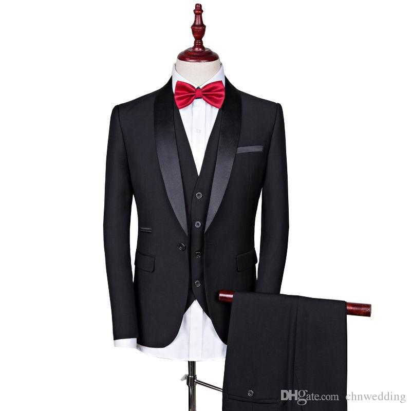 Özel Siyah Slim Fit Erkekler Düğün Damat smokin Sağdıç Balo Wear için 2018 (Ceket + Pantolon + Vest) En İyi Erkek Blazer Takımları