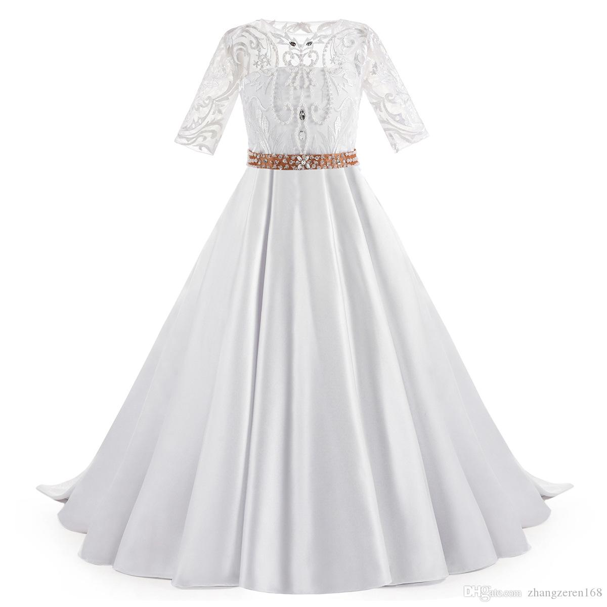 New Flower Girls Dresses lace beaded small trailing Short sleeve boat neckline children show princess gown