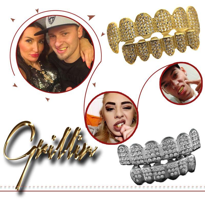 Copper HIPHOP Dental Grillz Teeth Caps Grills Rhinestone Gold Silver Steampunk Men Bijoux Femme Body Jewelry