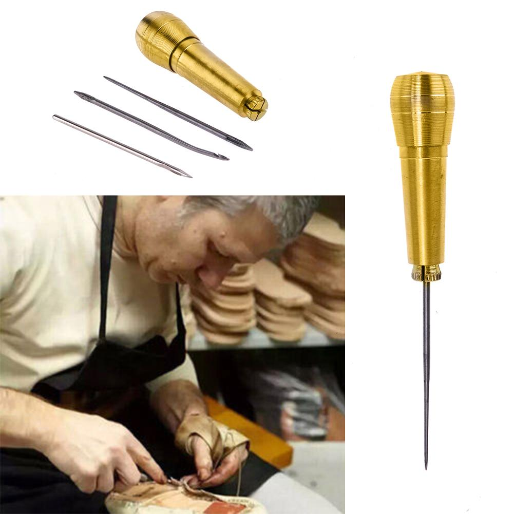 2sets Sewing Shoe Repair Kit Sewing Tools Needle Awl Leather Craft Sewing Needles Copper Handle Tool Stitcher Crochet Line