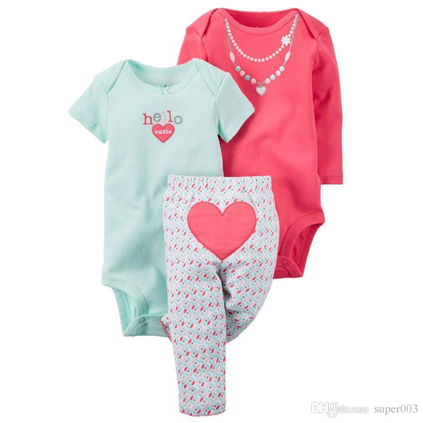 2018 Orijinal çocuklar kız giyim setleri 3 adet bebek giyim seti, roupas de bebes conjuntos bebek kız kış giysileri pantolon setleri