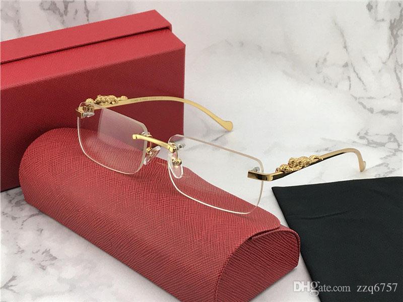 تصميم الأزياء الجديدة النظارات البصرية 1984615 مربع إطار بدون شفة عدسة شفافة الساقين الحيوان خمر أسلوب بسيط