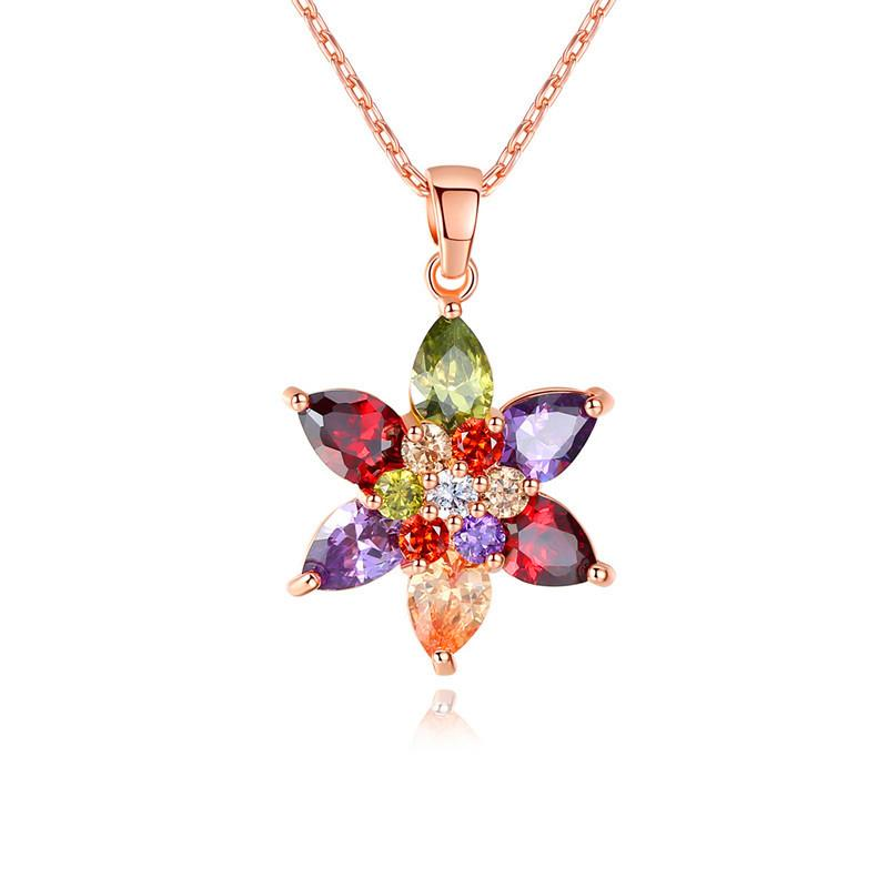 HOT Rose Gold Tree of Life Crystal CZ Cubic Zirconia Pendant Necklace Jewelry