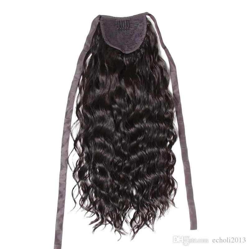 Remy Ponytail Human Hair BrazilianVirgin wavy curly Ponytail Human Hair Extensions Clip In Human Hair Ribbon Wrap Around Ponytail 120g