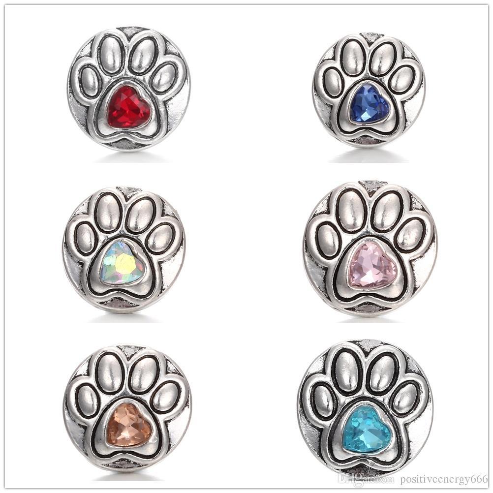 20pcs / lot fascino cane impronte di cristallo 18mm bottone a pressione argento antico strass fai da te gioielli retrò metallo zenzero snap fit collana di braccialetti