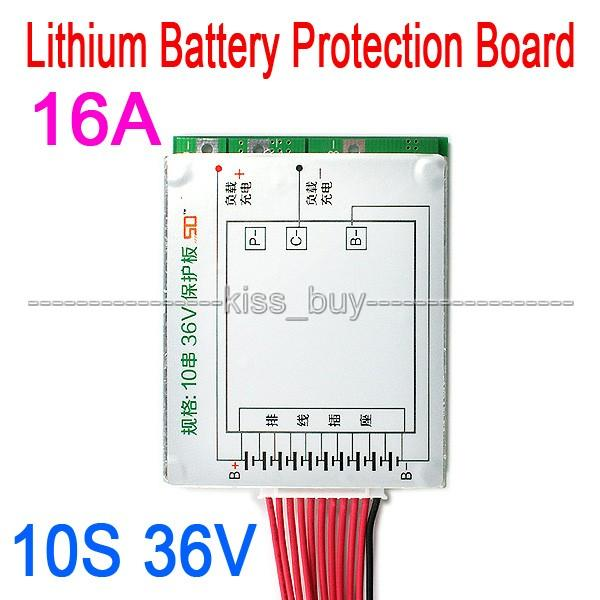 Freeshipping 10S 36V Li-ion Lithium Cell 16A 18650 Charger Battery Protection Board With Balance for Electric vehicle Car electrombile